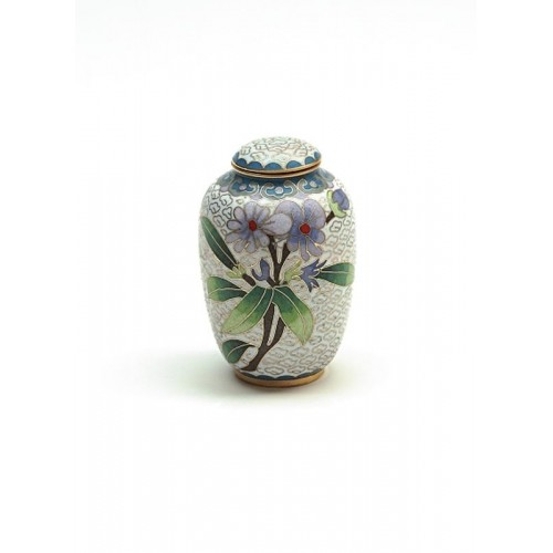 Cloisonné Keepsake (White with purple and green floral design) - SAVE 15%
