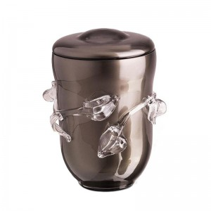 High Quality Bohemian Crystal Urn (Granite Grey with Glass Leaf Overlay)