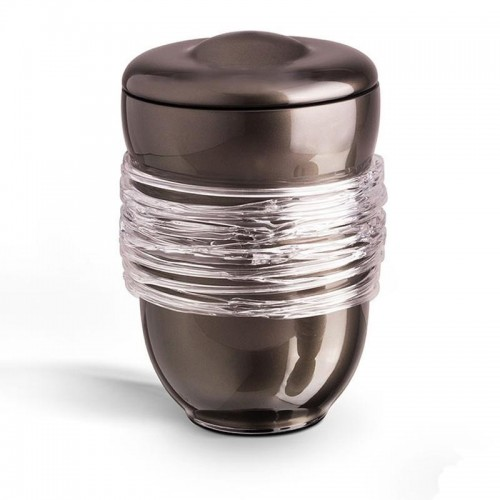 High Quality Bohemian Crystal Keepsake - Miniature Urn - (Granite Grey with Glass Ribbon).
