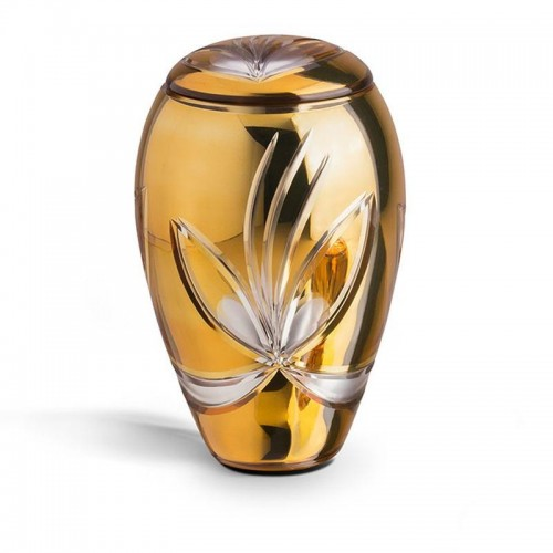 High Quality Bohemian Crystal Urn (Orange with Flower Decoration)
