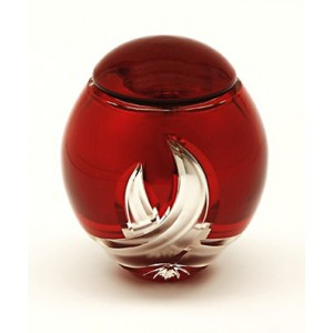 High Quality Bohemian Crystal Keepsake - Miniature Urn - (Burgundy and Silver)