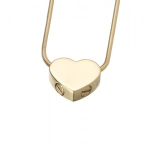 Gold Vermeil Double Chamber Slide Heart Pendant