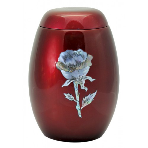 "Glass Fibre Urn (Burgundy with a ""Mother of Pearl"" Rose Design)"