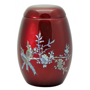 "Glass Fibre Urn (Burgundy with a ""Mother of Pearl"" Bird Design)"