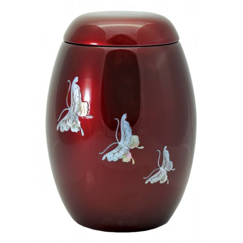 "Glass Fibre Urn (Burgundy with a ""Mother of Pearl"" Butterfly Design)"