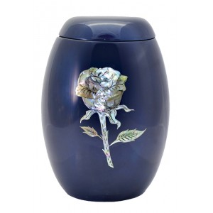 "Glass Fibre Urn (Blue with a ""Mother of Pearl"" Rose Design)"