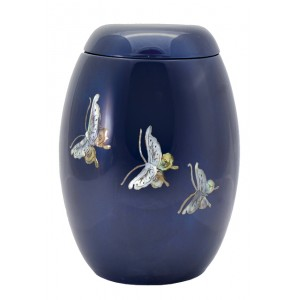 "Glass Fibre Urn (Blue with a ""Mother of Pearl"" Butterfly Design)"