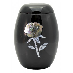 "Glass Fibre Urn (Black with a Silver ""Mother of Pearl"" Rose Design)"