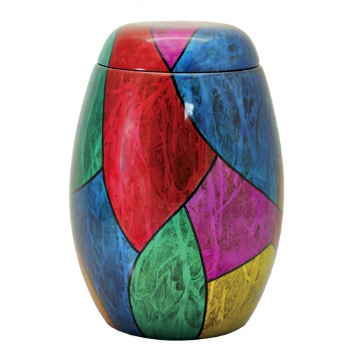 Glass Fibre Urn (Red & Blue Abstract Design)