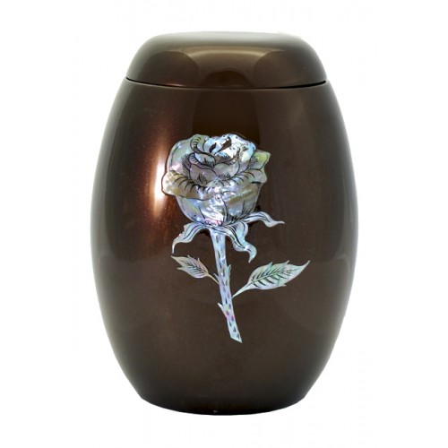 "Glass Fibre Urn (Brown with a ""Mother of Pearl"" Rose Design)"