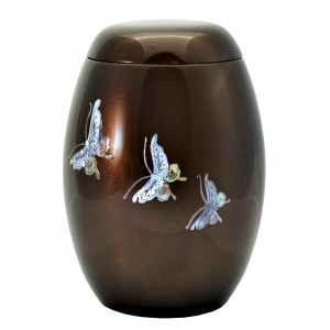 "Glass Fibre Urn (Brown with a ""Mother of Pearl"" Butterfly Design)"