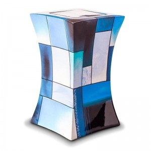 Glass Fibre Urn (Lantern Design in Multicolour Blue)