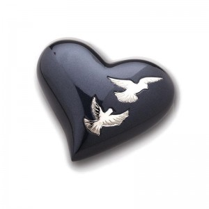 Keepsake Heart (Dark Blue with Birds Design)