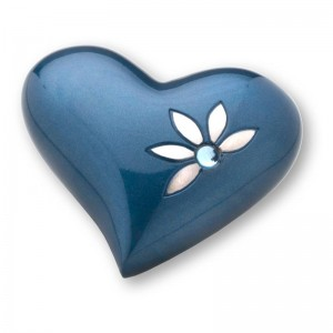 Keepsake Heart (Blue with Flower Motif and Jewel Detail)