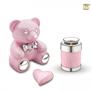 Infant / Child / Boy / Girl Cremation Ashes Funeral Urn (Cuddle Memory Bear - Pink)