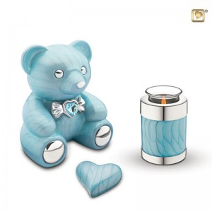 Infant / Child / Boy / Girl Cremation Ashes Funeral Urn (Cuddle Memory Bear - Blue)