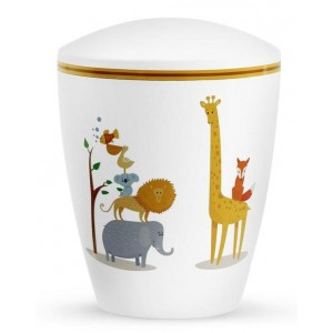 Biodegradable Cremation Ashes Urn (Infant / Child / Boy / Girl) – White with Illustrated Animals