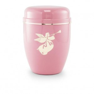 Infant / Child / Boy / Girl Cremation Ashes Urn (Pastel Pink with Angel Motif)