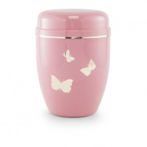 Infant / Child / Boy / Girl Cremation Ashes Funeral Urn (Pastel Pink with Butterflies Motif)