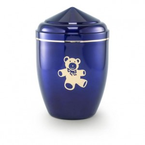 Infant / Child / Boy / Girl Cremation Ashes Funeral Urn (Blue with Gold Teddy Bear Motif)