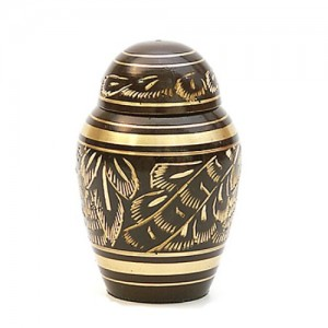 Brass Keepsake Small Urn (Dark Brown and Gold)