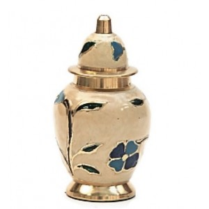 Brass Keepsake Small Urn (Cream with Pink, Blue and Green Floral Design)