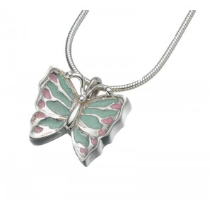Cremation Ash Keepsake Jewellery - Sterling Silver Butterfly Pendant with Enamelled Wings