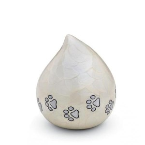 Brass Teardrop - Pet Cremation Ashes Urn - (White with Silver Pawprints)