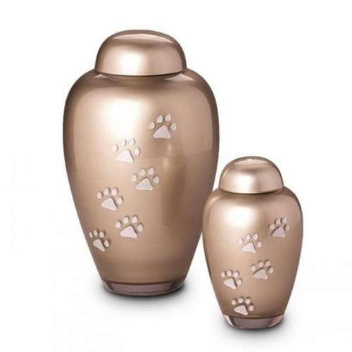 Crystal - Pet Cremation Ashes Urn (Brown with Silver Pawprints)