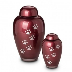 Crystal - Pet Cremation Ashes Urn (Red with Silver Pawprints)