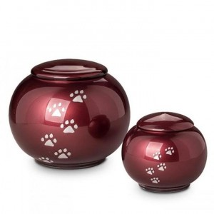 Crystal - Pet Cremation Ashes Urn - Round Design - (Red with Silver Pawprints)