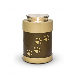 Candle Holder Keepsake (Brown with Gold Pawprints)