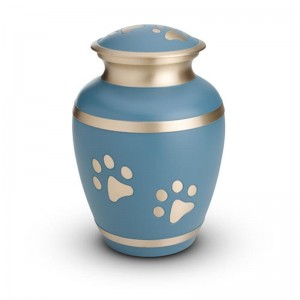 Brass - Pet Cremation Ashes Urn 1.5 Litres (Blue with Gold Pawprints)