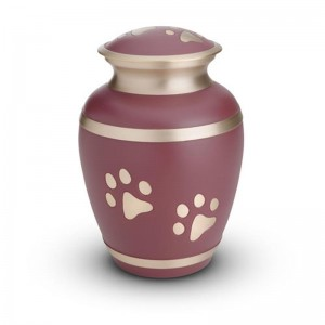 Brass - Pet Cremation Ashes Urn 1.5 Litres (Pink with Gold Pawprints)