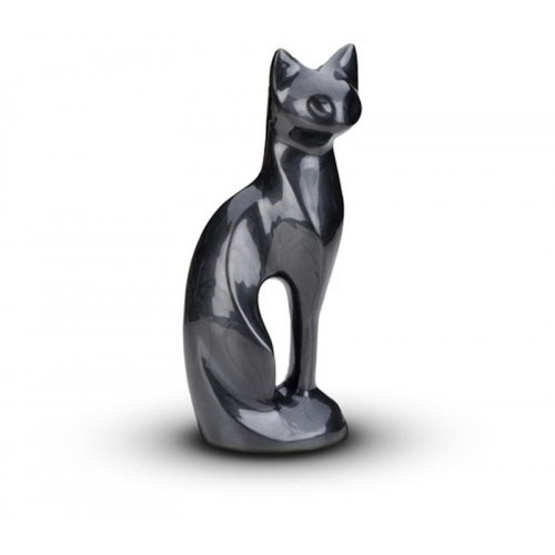 Sculpted Figurine - Cat Cremation Ashes Urn - BLACK