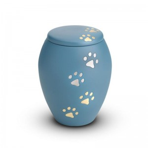 Brass - Pet Cremation Ashes Urn 1.0 Litre (Blue with Gold and Silver Pawprints)