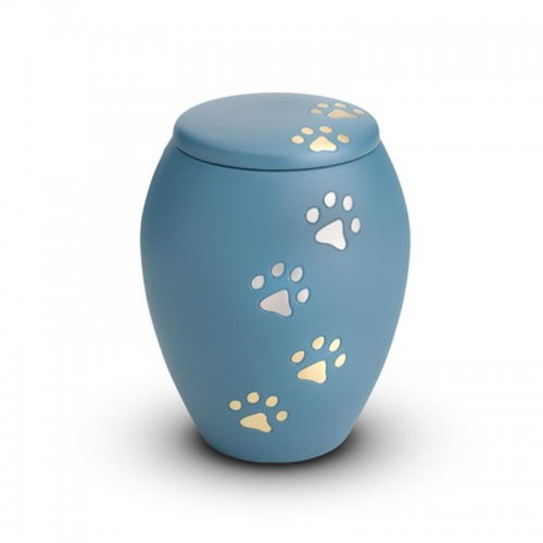 Brass - Pet Urn 0.5 Litres (Blue with Gold and Silver Pawprints)