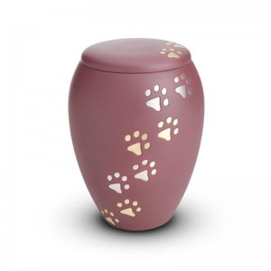 Brass - Pet Cremation Ashes Urn 1.5 Litres (Pink with Gold and Silver Pawprints)