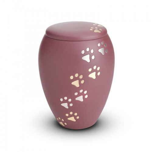 Brass - Pet Cremation Ashes Urn 0.5 Litres (Pink with Gold and Silver Pawprints)