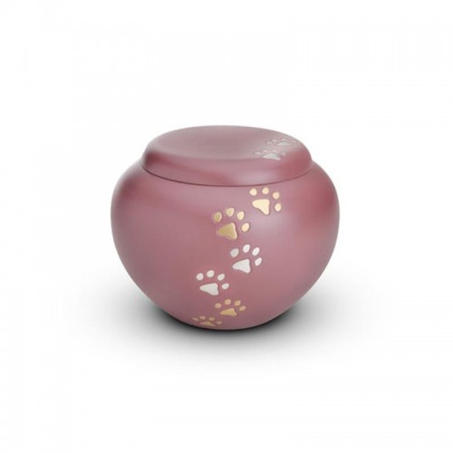 Brass - Rounded Pet Cremation Ashes Urn 1.0 Litre (Pink with Gold and Silver Pawprints)