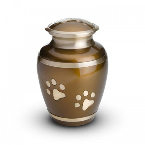 Brass - Pet Cremation Ashes Urn 0.8 Litres (Brown with Gold Pawprints)