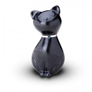 Sculpted Figurine - Cat Cremation Ashes Urn – (BLACK WITH SWAROVSKI ELEMENTS COLLAR)
