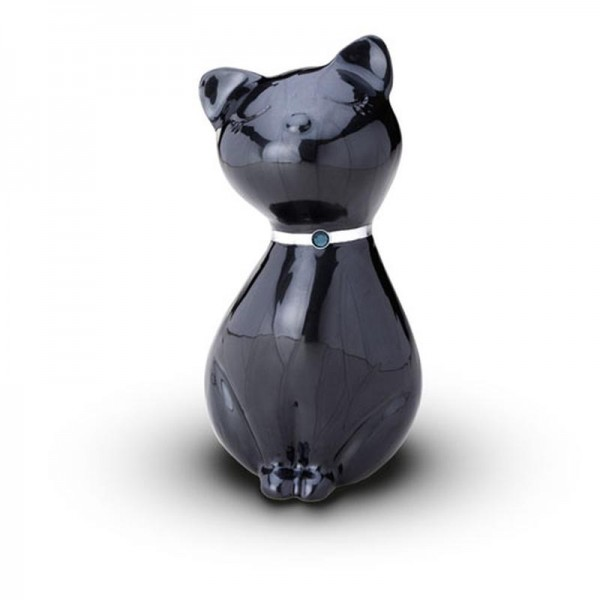Sculpted Figurine - Cat Cremation Ashes Urn - (BLACK WITH ...