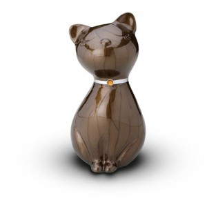 Sculpted Figurine - Cat Cremation Ashes Urn – (BROWN WITH SWAROVSKI ELEMENTS COLLAR)