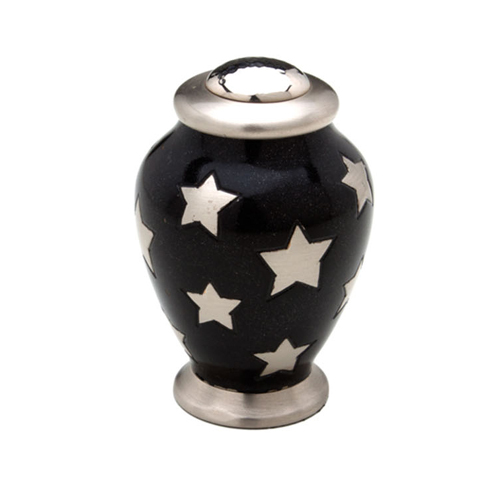 "Simplicity Keepsake Small Urn (Black with Silver Stars) - ""Made with Love"""