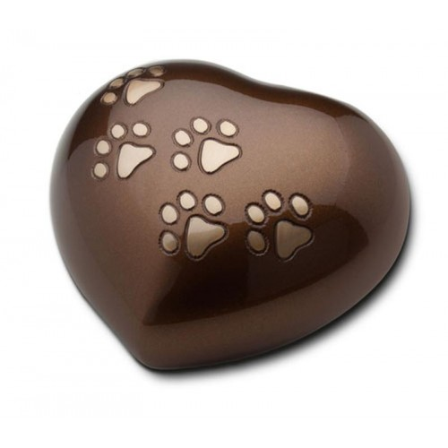 Keepsake Heart 0.8 Litres (Brown with Gold Pawprints)
