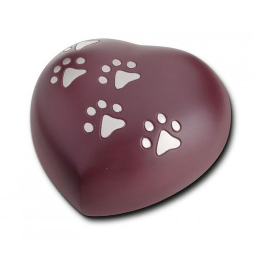 Keepsake Heart 0.8 Litres (Cranberry with Silver Pawprints)