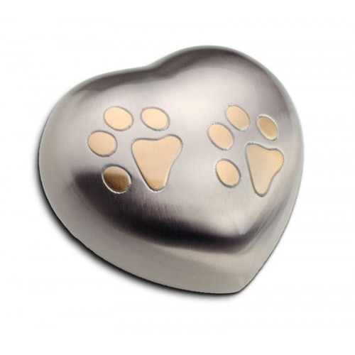 Keepsake Heart 0.4 Litres (Brushed Silver with Gold Pawprints)