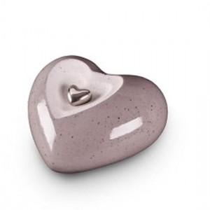 Small Ceramic Heart Shape Cremation Ashes Urn (Legend Grey)