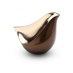 Lovebird Urn - Brown and Hammered Gold